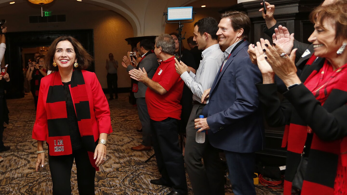SDSU President Adela de la Torre arrives at an event for SDSU West, Measure G at the U.S. Grant Hotel in San Diego on Tuesday, Nov. 6, 2018. (Photo by K.C. Alfred/San Diego Union-Tribune)