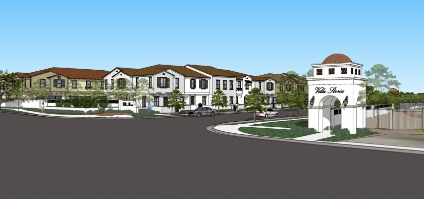 Rendering of Villa Storia, a proposed community of up to 420 homes near the San Luis Rey Mission in Oceanside.
