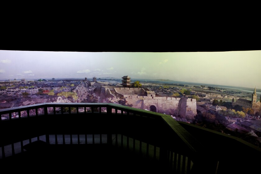 A view of a city in a panorama.