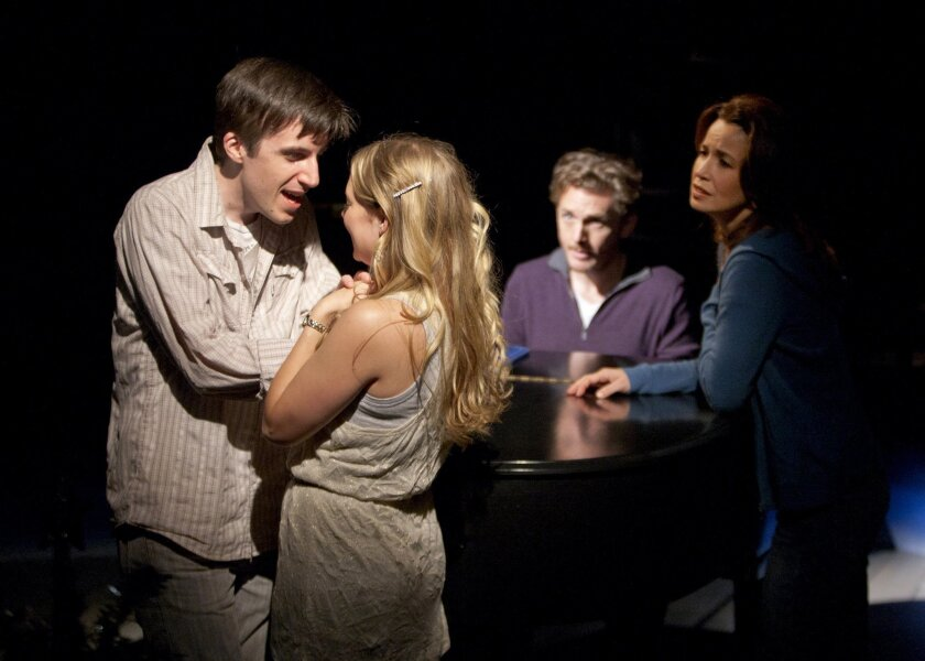 "Andrew Mueller as Young Ben, Jenni Barber as Young Molly, Jason Danieley as Ben and Michelle Duffy as Molly (left to right) in the Old Globe's ""Some Lovers,"" a new musical with book and lyrics by Steven Sater and music by Burt Bacharach."