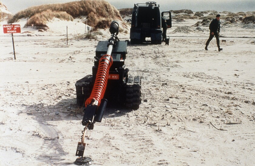 A robot undergoes testing in a mine-clearance operation by British troops in the Falkland Islands in 1985.