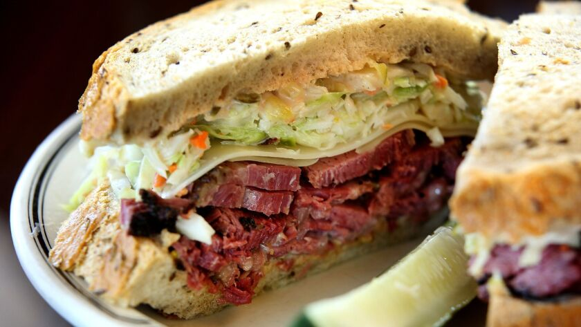 LOS ANGELES, CA., SEPTEMBER 14, 2016 -- Pastrami and Swiss cheese with cole slaw and Russian style d