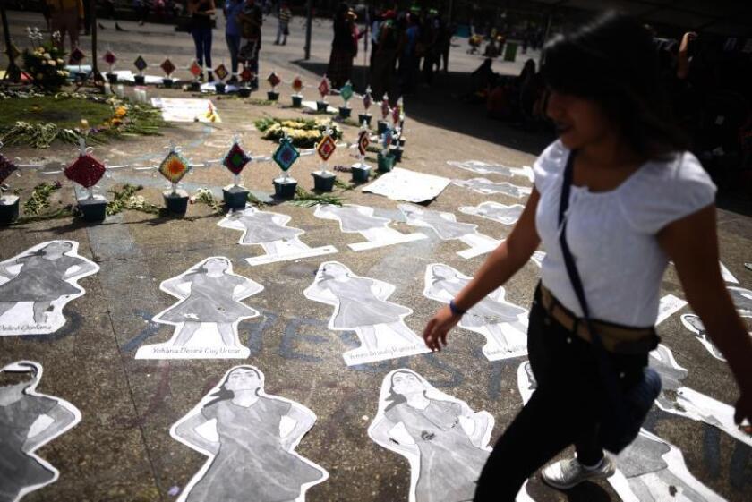 Women participate during the march for the Internacional Women's Day in Guatemala City, Guatemala, March 8, 2018. EPA-EFE/ Edwin Bercian