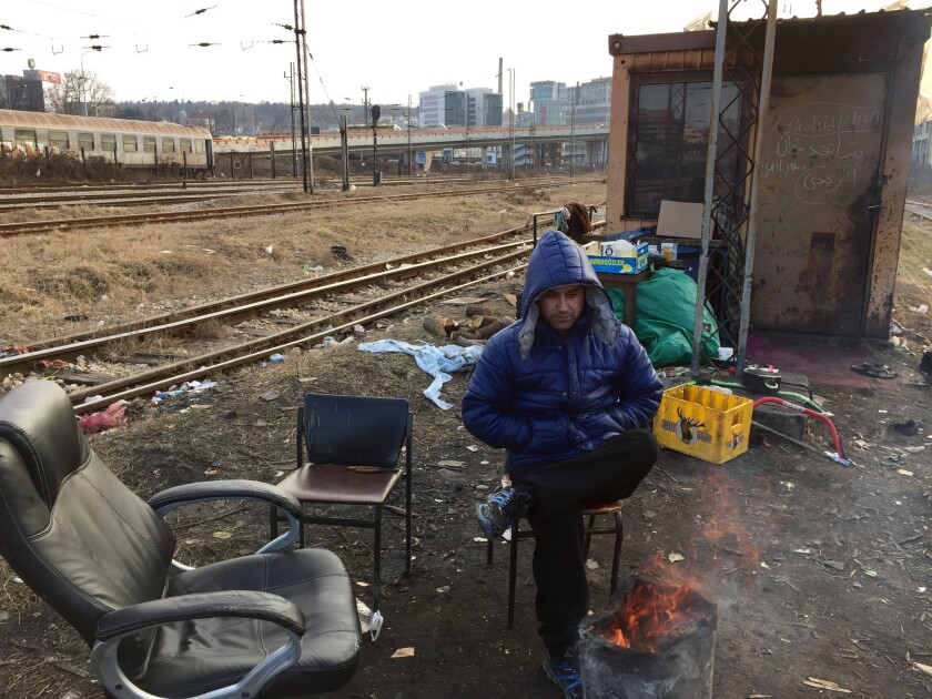Tariq Stanikzay, 25, has tried six times to cross into the EU from Serbia. He sleeps in a shed along the train tracks in Belgrade with six other Afghan migrants.