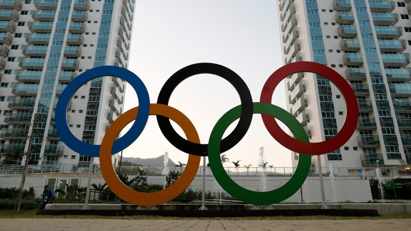 The Olympic rings are displayed in the Olympic Village in Rio de Janeiro, Brazil.