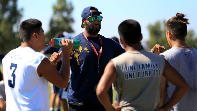 Aaron Jones is the new head coach for the Bonita Vista High School boys varsity football team. Duri