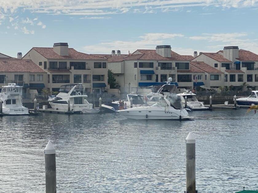 An explosion led to a boat fire Sunday afternoon near Peter's Landing in Huntington Harbour.