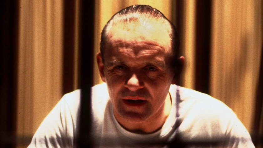 "Anthony Hopkins is shown in the role of Dr. Hannibal Lector in 1991's ""Silence of the Lambs."""