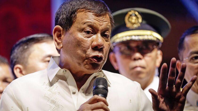 Philippine President Rodrigo Duterte speaks to protesters in Quezon City, Philippines, on July 24, 2017.