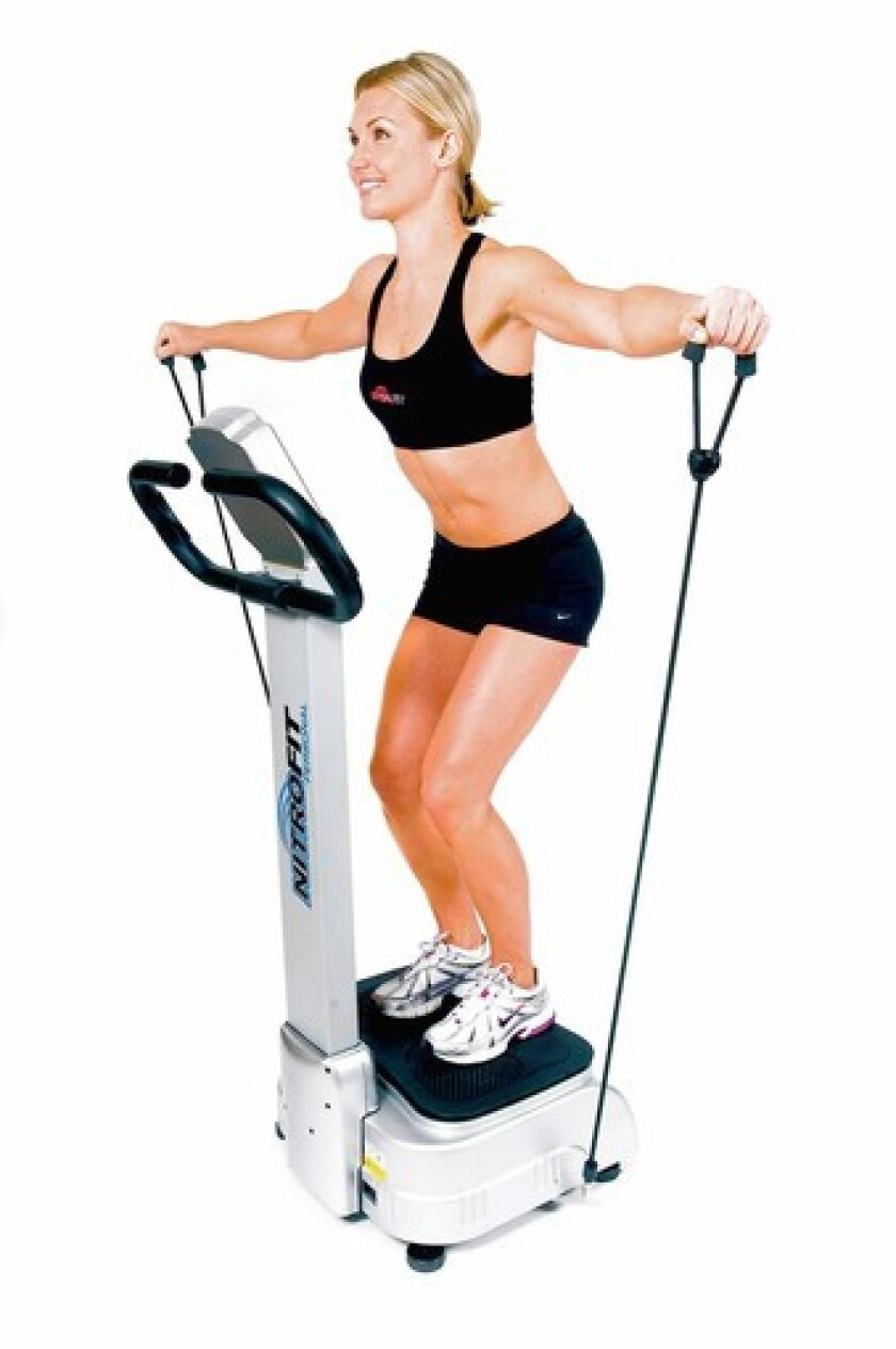 The company claims that the Medvibe Nitrofit Personal's teeter-totter motion improves toning, core strength and posture better than the up-and-down motion of the vertical machines