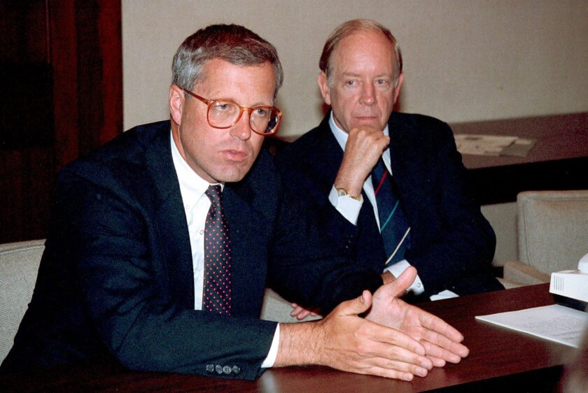 James A. Johnson, left, in 1990.