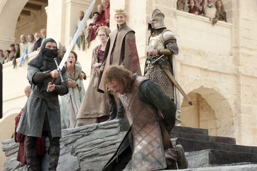 "This photo of released by HBO shows Sean Bean portraying Eddard Stark in ""Game of Thrones."" Where mo"