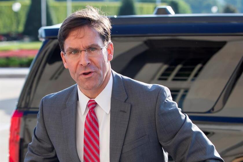 US Defense Secretary Mark Esper, seen here arriving at the Pentagon, announced a determination by the United States to deploy an intermediate-range missile system in the Asia-Pacific region to reaffirm the nation's commitment to its allies in the region, a measure that will undoubtedly irritate China. EFE-EPA/Erik S. Lesser/File