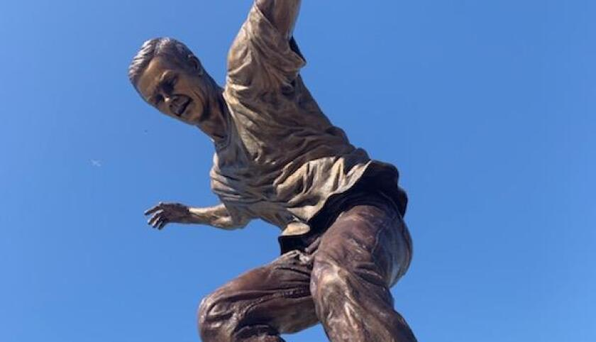 A Geoff Rowley statue was unveiled outside of the L.A. Convention Center on Thursday.
