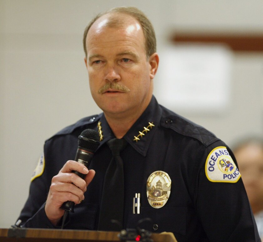 Oceanside Police Chief Frank McCoy speaks during a sentencing at the Vista courthouse in 2009.