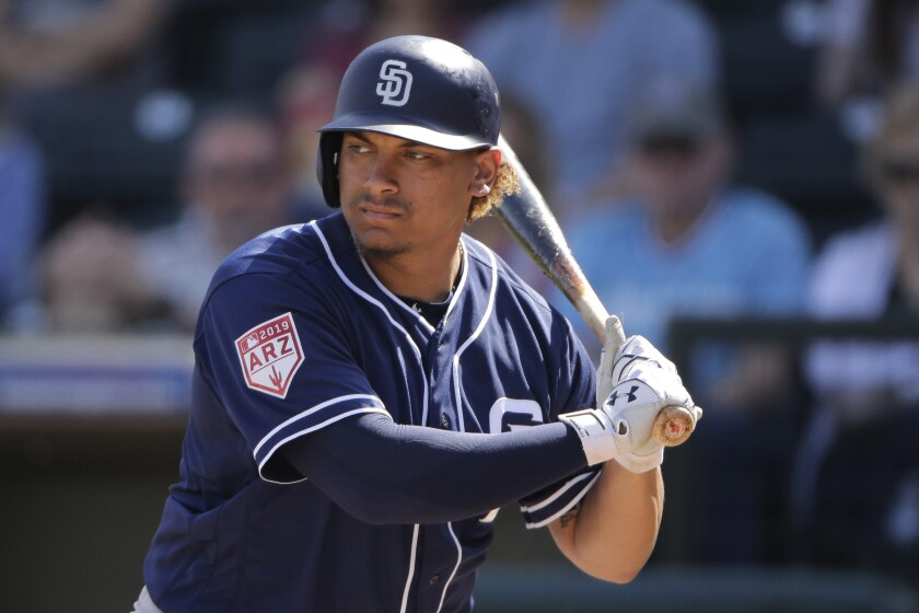 San Diego Padres' Josh Naylor bats during the second inning of a spring training baseball game again
