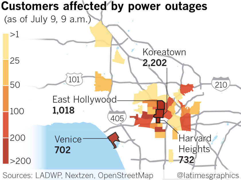 Hundreds of customers are still without power as hot and ... on internet outage map, ladwp outage map, power outage map, dsl outage map,