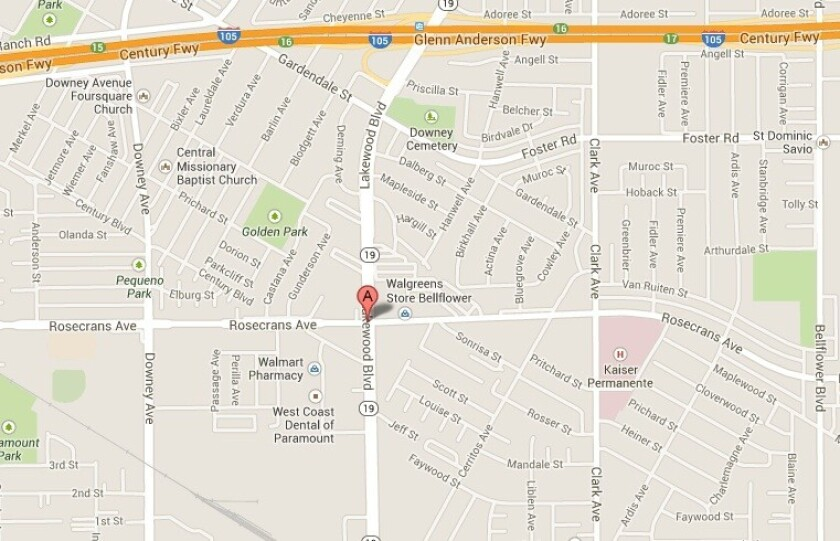 A map shows the approximate location of where a teenager died Saturday in Bellflower after a car crash.