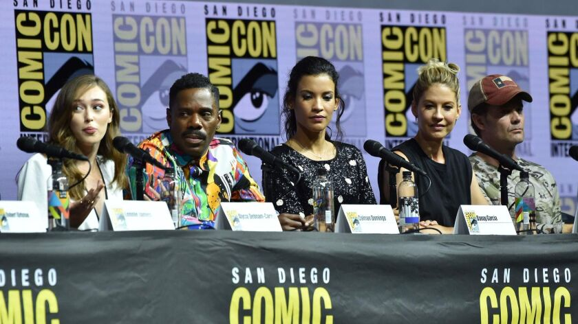 "Alycia Deb-Carey, Colman Domingo, Danay Garcia, Jenna Elfman, and Garret Dillahunt participate in the panel discussion for ""Fear the Walking Dead"" at the 2018 San Diego Comic-Con International."