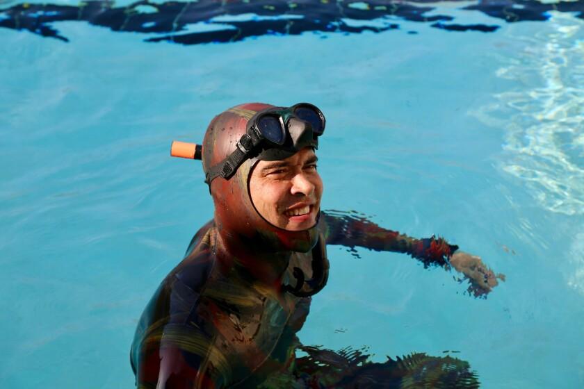 Lance Lee Davis at a training session at Ventura Dive & Sport, California.