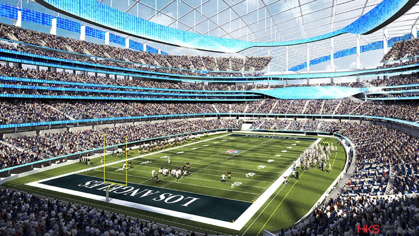 An artist's rendering of the new $5-billion SoFi Stadium in Inglewood that will be home to the Rams and Chargers starting next season.