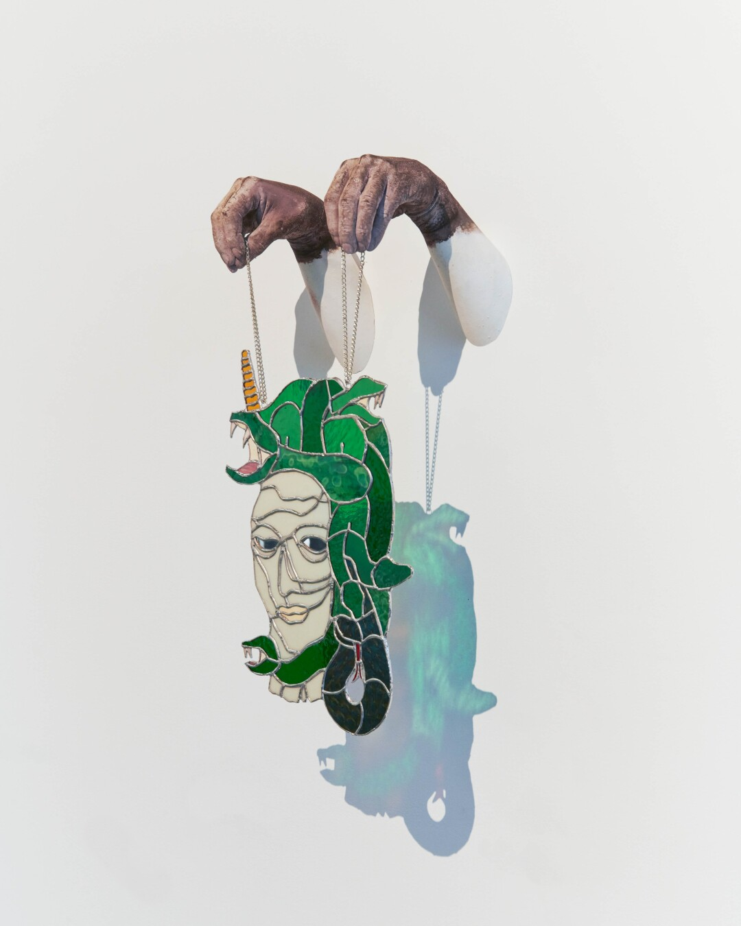 """Timo Fahler alter ego series - Medusa, 2021 plaster, stained glass, mirror, dye, chain, twine 24""""H x 14""""W x 10""""D"""