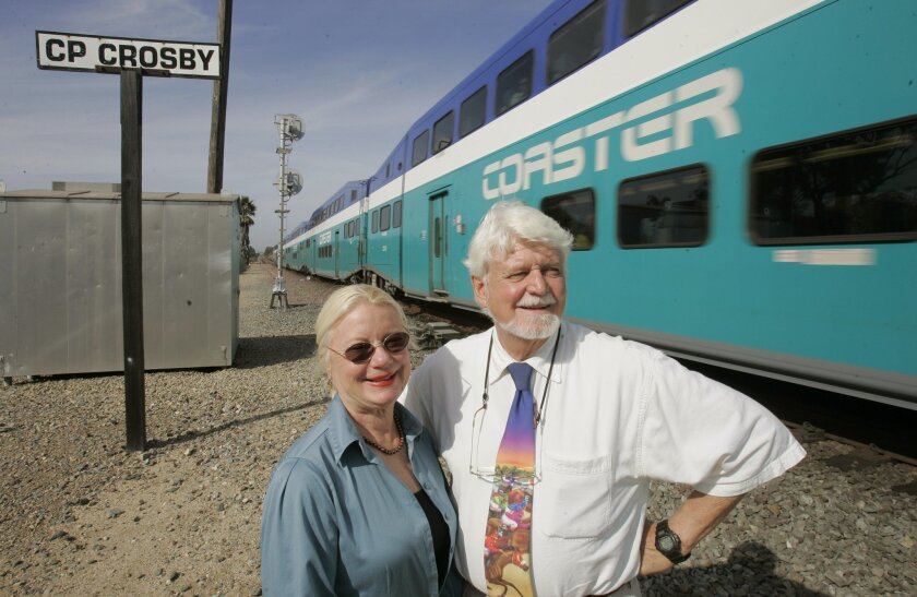 Helen and Richard Nielsen-Eckfield are determined to see a train platform built at the fairgrounds. (Charlie Neuman / Union-Tribune)