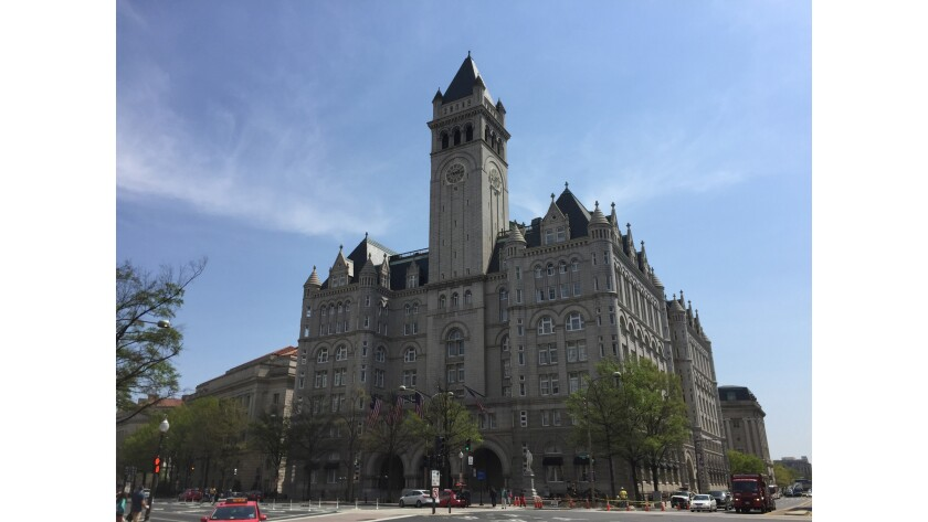 FILE - In this April 13, 2017, file photo, shows the Trump International Hotel in Washington. The in