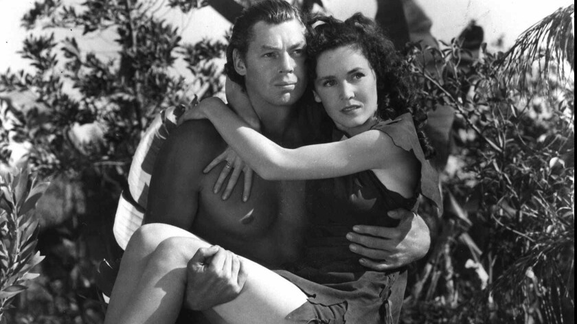 """Johnny Weissmuller and Maureen O'Sullivan in """"Tarzan Escapes"""""""
