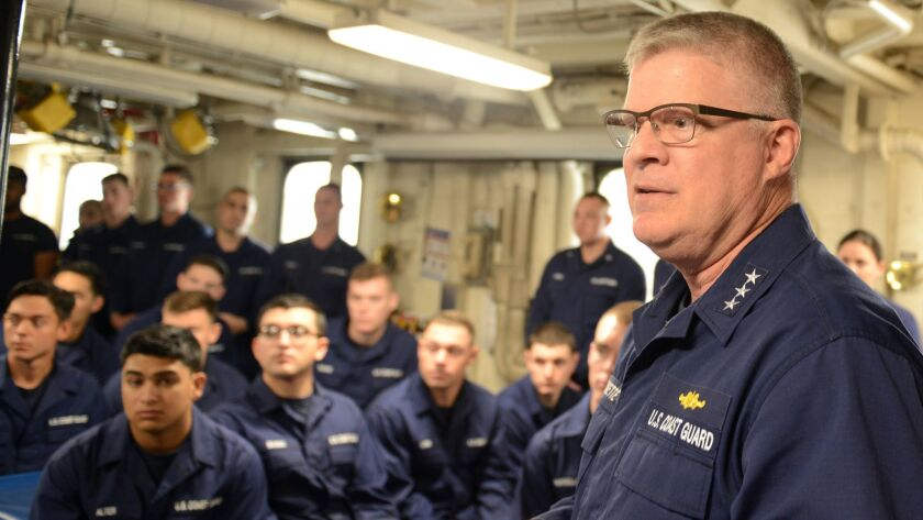 Vice Adm. Fred Midgette, the commander of Coast Guard Pacific Area discusses a drug interdiction patrol with Seattle troops in early 2017.