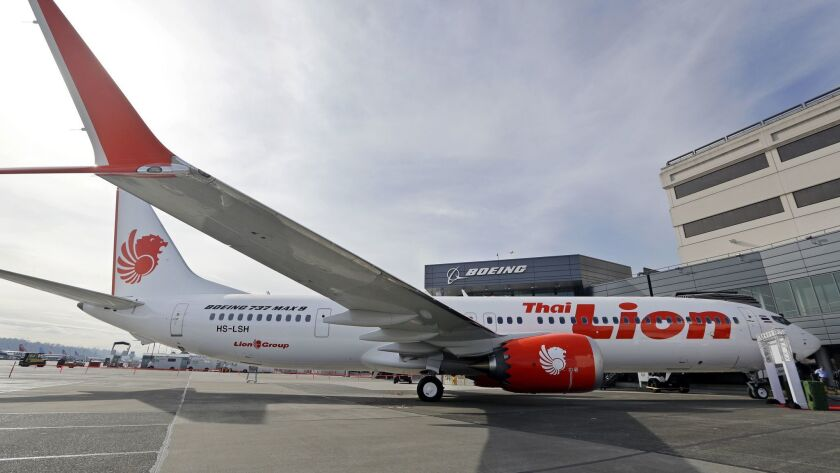 Boeing's first 737 MAX 9 jet at the company's Seattle delivery center on March 21 before a ceremony transferring ownership to Thai Lion Air.