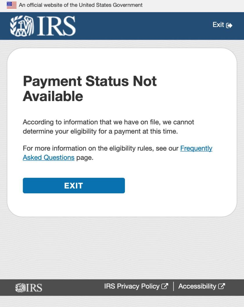 IRS website error message
