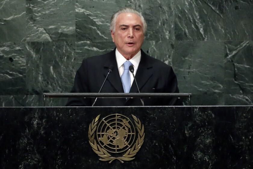 Brazilian President Michel Temer addresses the United Nations General Assembly in September.