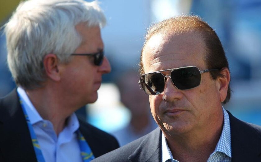 Chargers president Dean Spanos (right) and his special counsel, Mark Fabiani.