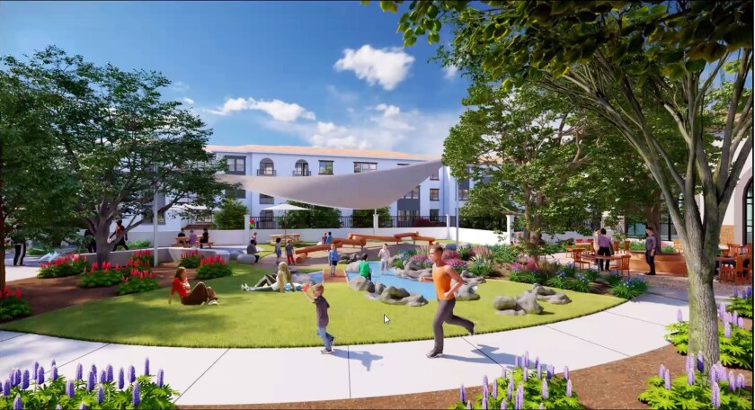 An artist's rendering of the public open space for Fairfield Residential's mixed-use project.