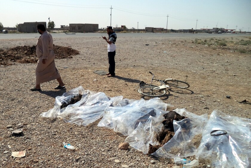 Iraqis inspect bodies found in a mass grave and displayed for identification in the town of Tuz Khurmatu, northeast of Baghdad. The victims are believed to have been killed by Islamic State fighters.