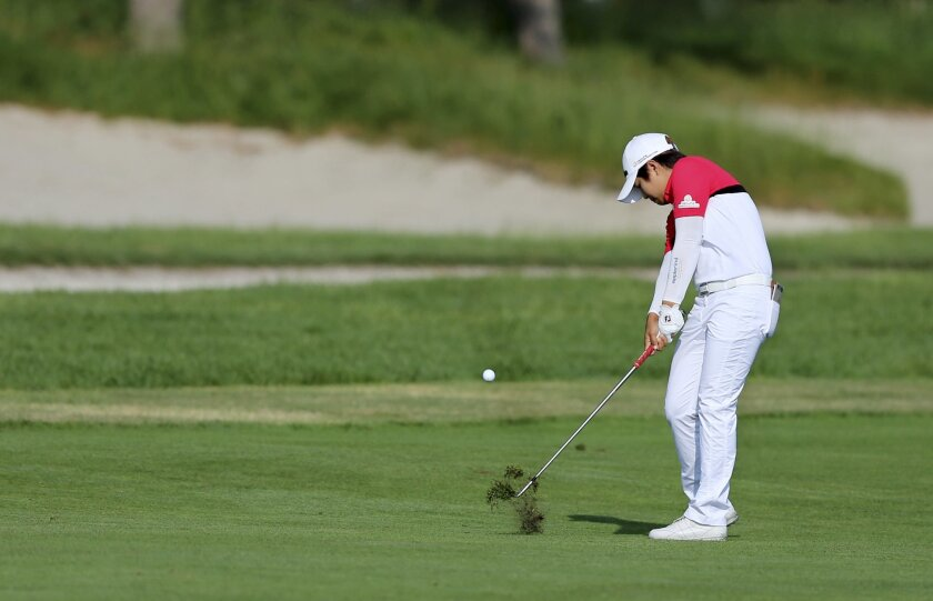 Haru Nomura, of Japan hits a fairway shot on the first hole of the second round of the ShopRite LPGA Classic golf tournament, Saturday, June 4, 2016, in Galloway Township, N.J. (AP Photo/Mel Evans)
