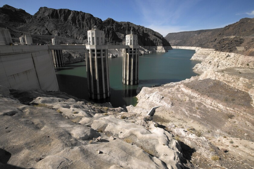 Lake Mead and Hoover Dam. In September, the third and deepest intake pipe into the lake will be opened to ensure that Las Vegas-area consumers have water no matter how far Mead falls.