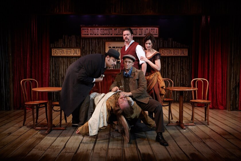 """Nicholas Mongiardo-Cooper, Louis Lotorto (lying down), Jason Maddy, Richard Baird and Jacquelyn Ritz (left to right) in """"Sherlock Holmes and the Adventure of the Great Nome Gold Rush."""""""