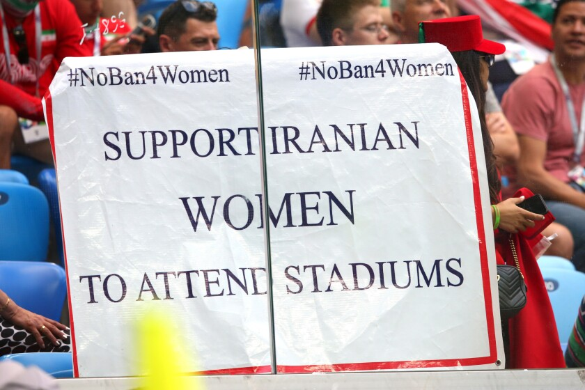 SAINT PETERSBURG, RUSSIA - JUNE 15: A sign is held by fans in support of Iranian women in football during the 2018 FIFA World Cup Russia group B match between Morocco and Iran at Saint Petersburg Stadium on June 15, 2018 in Saint Petersburg, Russia. (Photo by Alex Livesey/Getty Images) ** OUTS - ELSENT, FPG, CM - OUTS * NM, PH, VA if sourced by CT, LA or MoD **