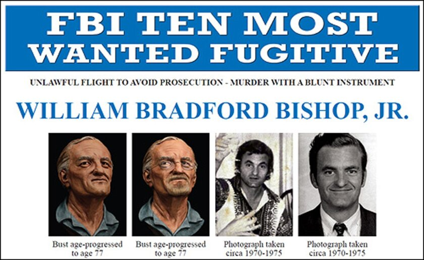 This undated handout image provided by the FBI shows the FBI's ten most wanted fugitive poster for William Bradford Bishop Jr. Bishop, diplomat suspected of killing his wife, mother and three sons in 1976. The FBI is exhuming the body of a John Doe buried in Alabama in 1981 in its search for a 10 Most Wanted Fugitive accused of killing his family nearly 40 years ago. In court filings, the FBI says there is a strong resemblance between photos of the John Doe and former State Department diplomat William Bradford Bishop. He is accused of using a sledgehammer to kill his wife, mother and three children in their Bethesda, Maryland, home in 1976. Their bodies were found burning in a shallow grave in Columbia, North Carolina. (AP Photo/FBI)