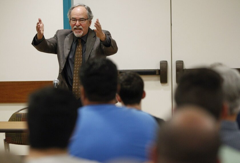 Conservative activist David Horowitz spoke at an event organized by San Diego State College Republicans on Thursday. Horowitz created controversial posters linking some SDSU to terrorist groups, but no protestors were at the talk.