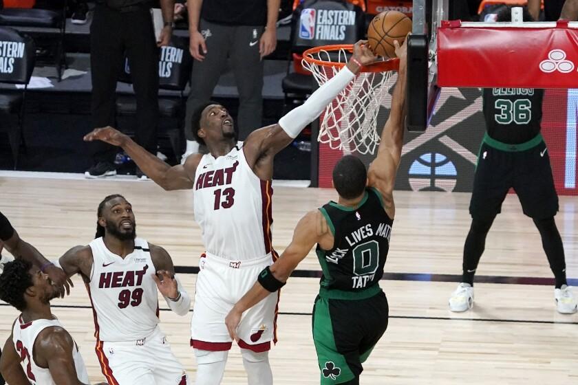 NBA playoffs: Bam Adebayo's block helps Heat win Game 1 over Celtics - Los  Angeles Times
