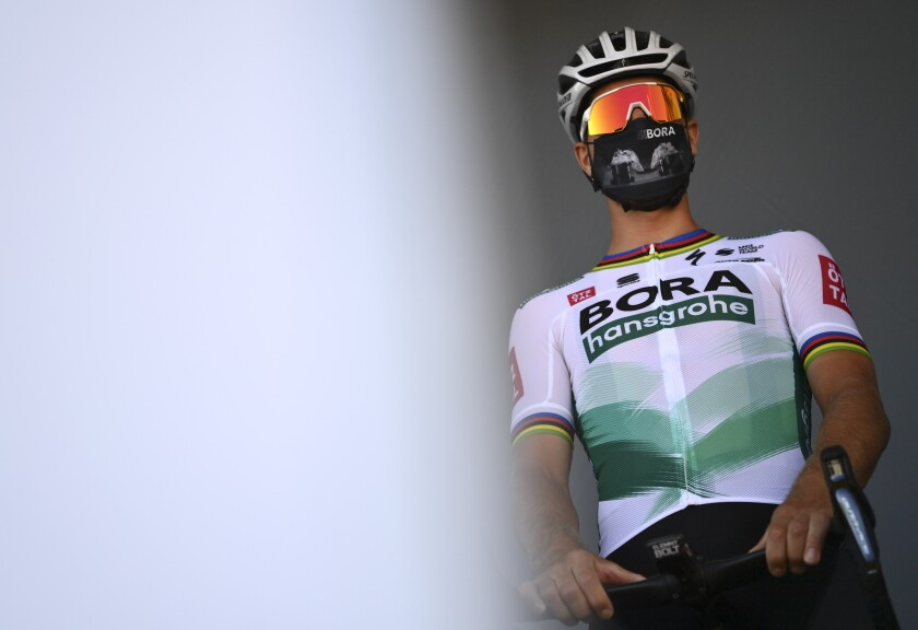 Slovakia's Peter Sagan arrives for the start of the sixth stage of the Tour de France cycling race over 191 kilometers from Le Teil to Mt. Aigoual Thursday, Sept. 3, 2020. (Marco Betorello/Pool via AP)