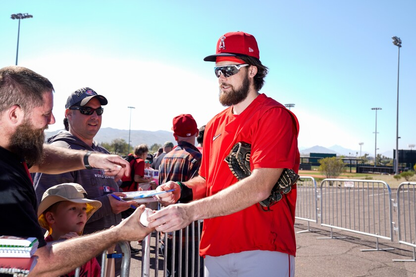 Angels prospect Brandon Marsh signs autographs Feb. 17 in Tempe, Ariz.