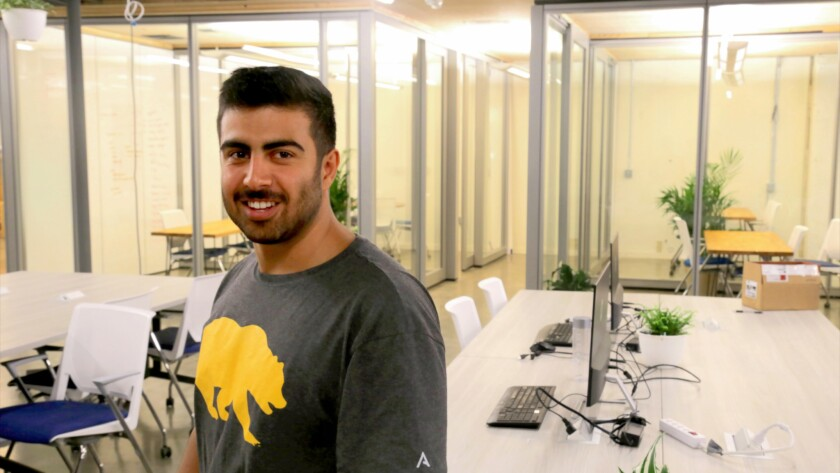 "Cal alumnus Cameron Baradar at the House, a new ""start-up institute"" in Berkeley."
