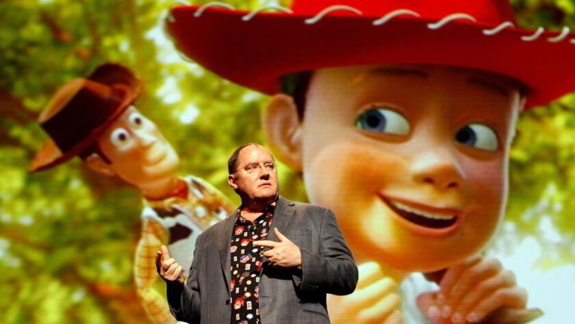John Lasseter speaks in 2013 at the El Capitain Theater in Hollywood.