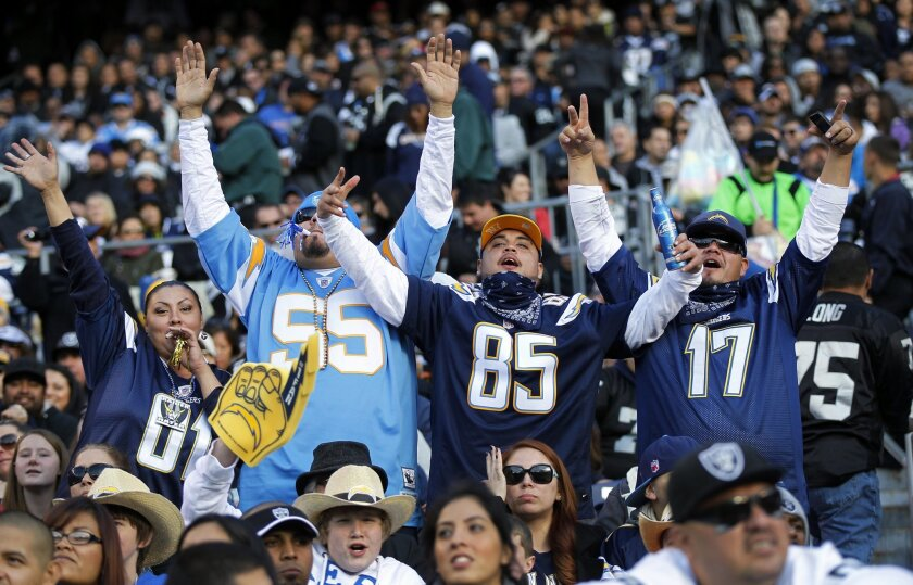 Chargers fans celebrate a win against the Raiders on Sunday, Dec. 30, 2012.