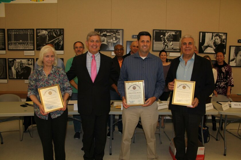 Supervisor Dave Roberts honored departing board members Anne Harvey, Chris Moore and Victor Manoushakian.