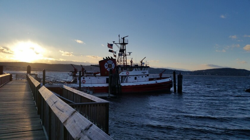 The retired John D. McKean fireboat is currently moored at an inlet in the quiet village of Sleepy H